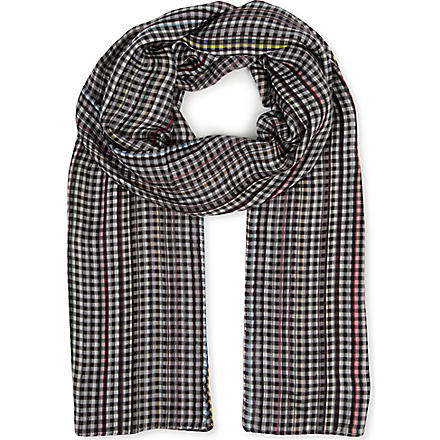 PAUL SMITH ACCESSORIES Multistripe checked scarf (Grey