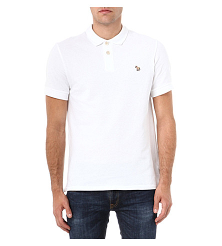 PAUL SMITH JEANS Cotton-piqué zebra polo shirt (White