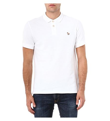PAUL SMITH JEANS Cotton-piqué zebra polo shirt (White