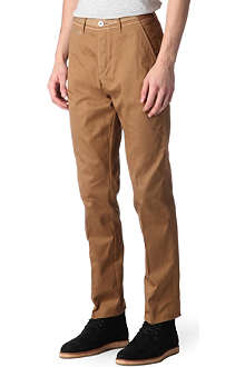 PAUL SMITH RED EAR Tapered mercerised-cotton trousers