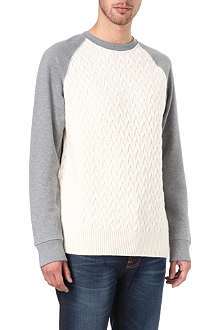 RED EAR Knitted panel sweatshirt