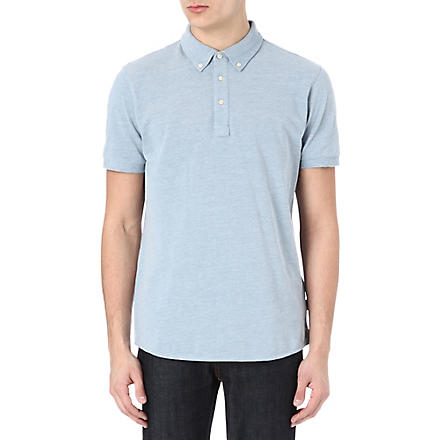 PAUL SMITH JEANS Plain marl polo shirt (Sky