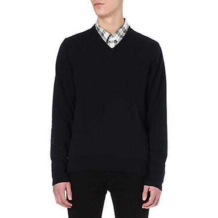 PAUL SMITH JEANS Polka-dot embroidered elbow jumper (Navy