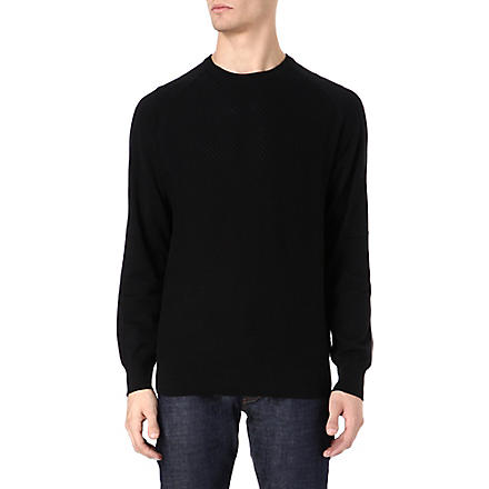 PAUL SMITH JEANS Mesh front knitted jumper (Black