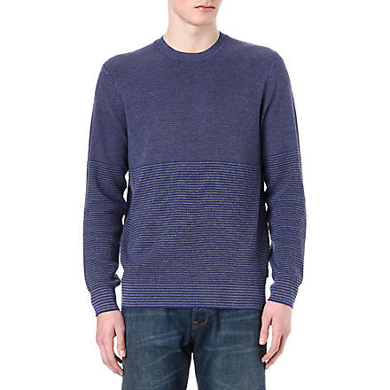 PAUL SMITH JEANS Varied stripe knitted jumper (Blue
