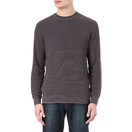 PAUL SMITH JEANS Varied stripe knitted jumper (Mushroom