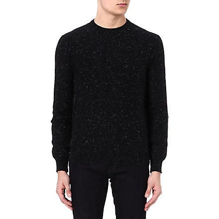 PAUL SMITH JEANS Flecked cord elbow-patch jumper (Black