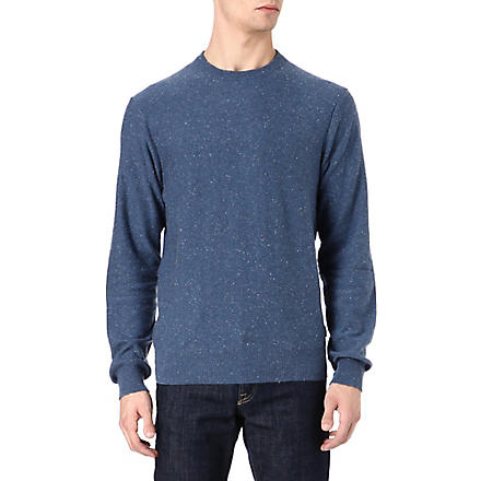 PAUL SMITH JEANS Flecked cord elbow-patch jumper (Sky