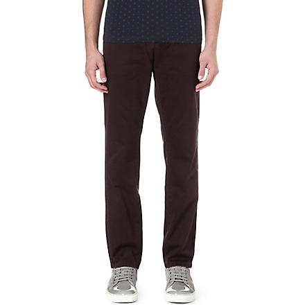 PAUL SMITH JEANS Tapered carrot chino trousers (Burgandy