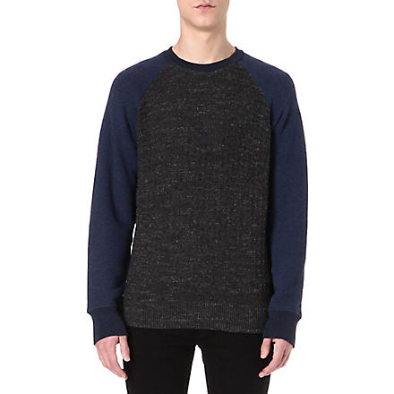 PAUL SMITH JEANS Textured raglan sweatshirt (Black