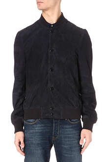 PAUL SMITH JEANS Perforated suede bomber jacket