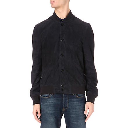 PAUL SMITH JEANS Perforated suede bomber jacket (Blue
