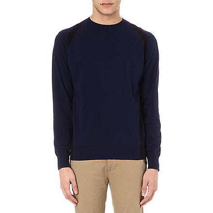 PAUL SMITH JEANS Strap detail knitted jumper (Navy