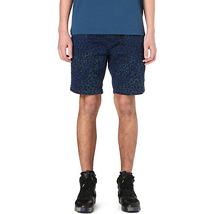 PAUL SMITH JEANS Leopard print denim shorts (Blue