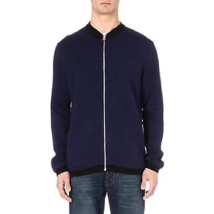 PAUL SMITH JEANS Herringbone zip-up cardigan (Black