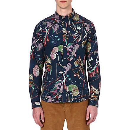 PAUL SMITH JEANS Tailored-fit botanical floral print shirt (Navy