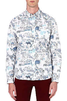 PAUL SMITH JEANS Tailored-fit commune-print shirt