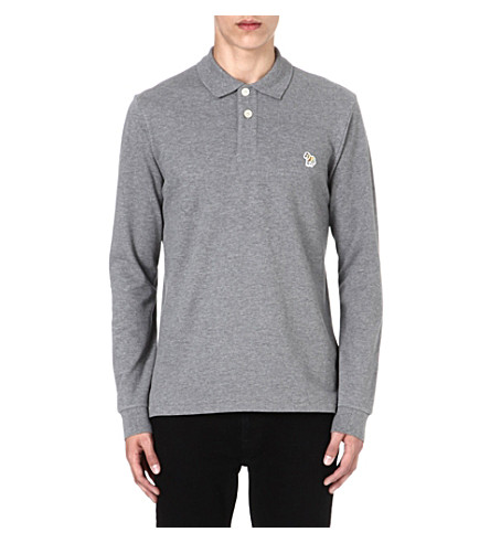 PAUL SMITH JEANS Zebra long-sleeved polo shirt (Grey