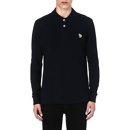 PAUL SMITH JEANS Zebra long-sleeved polo shirt (Navy