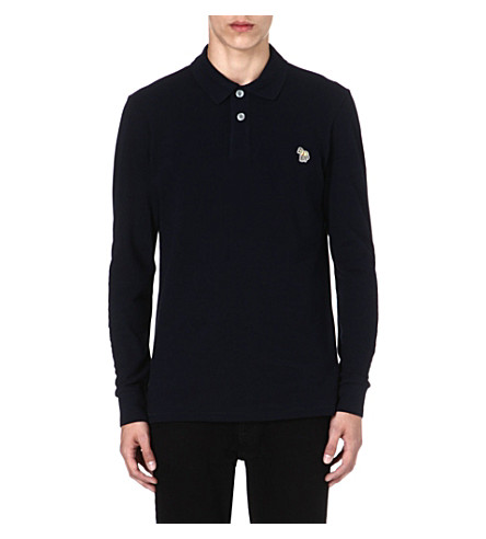 PAUL SMITH JEANS Zebra long-sleeved polo shirt (Navy