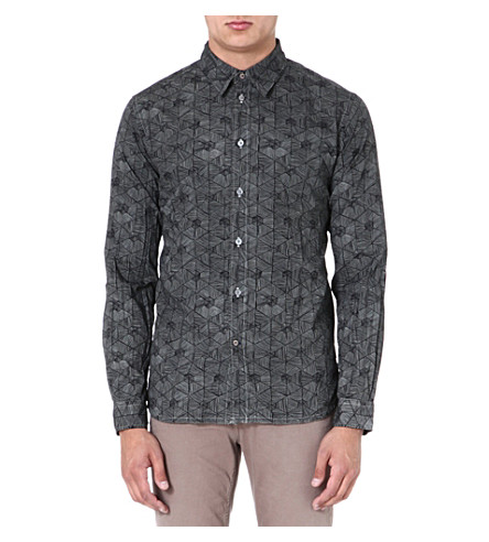 PAUL SMITH JEANS Triangle-print regular-fit shirt (Grey
