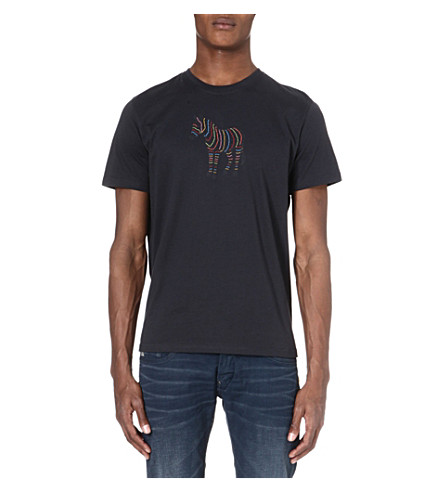 PAUL SMITH JEANS Zebra-print cotton t-shirt (Navy