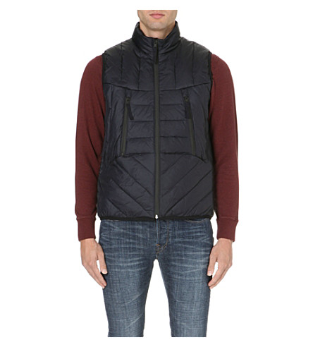 PAUL SMITH JEANS Quilted down-filled gilet (Navy