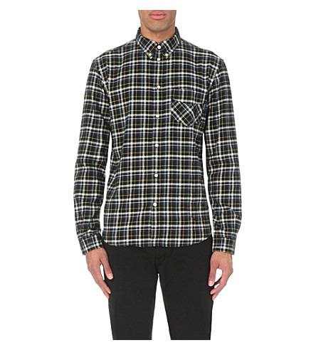 Paul smith jeans slim fit checked flannel shirt for Women s slim fit flannel shirt