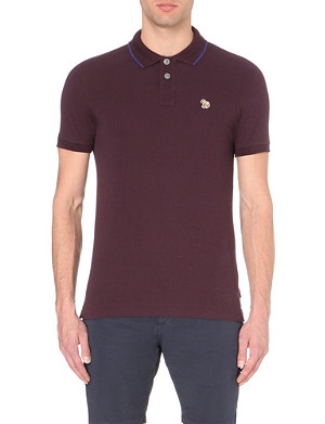 PAUL SMITH JEANS Zebra collar-trim cotton polo shirt