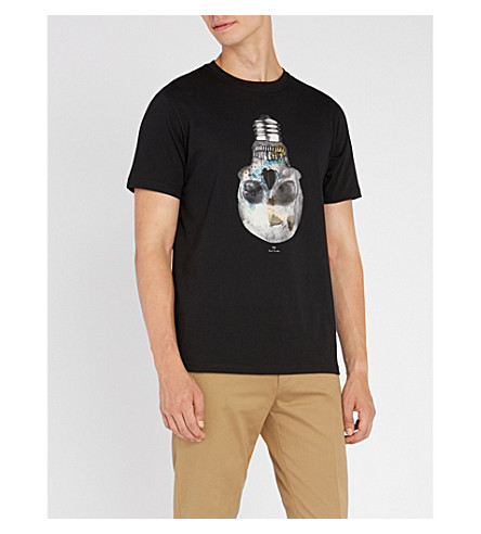 PAUL SMITH Skull-bulb print cotton-jersey T-shirt (Black
