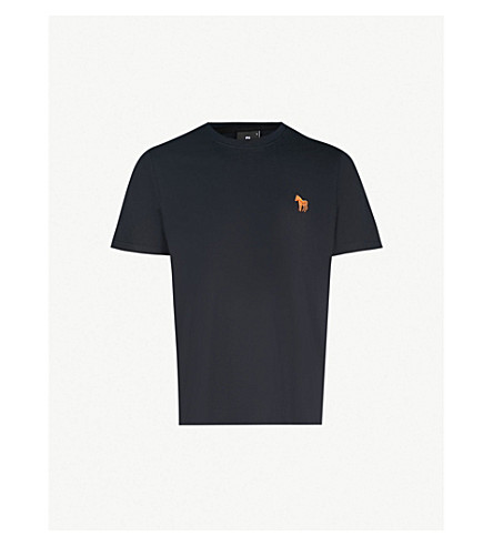 PS BY PAUL SMITH Zebra-embroidered cotton-jersey T-shirt (Navy