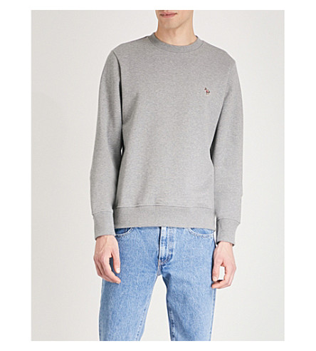 Excellent Cheap Price PAUL SMITH Zebra-embroidered cotton-jersey sweatshirt Grey Outlet Deals Best Prices Online Latest fGMNnRY