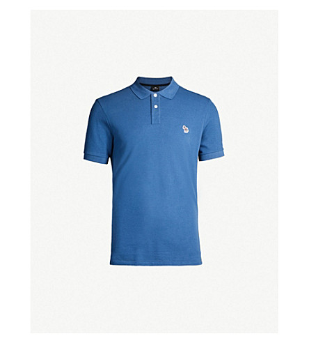 PAUL SMITH Zebra-embroidered cotton polo shirt (Blue