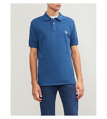 PS BY PAUL SMITH Zebra-embroidered cotton polo shirt (Blue