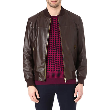 PS BY PAUL SMITH Leather bomber jacket (Chocolate