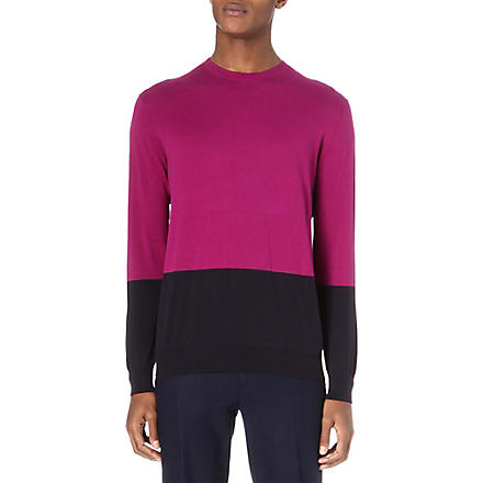 PS BY PAUL SMITH Colour block knit jumper (Pink/navy