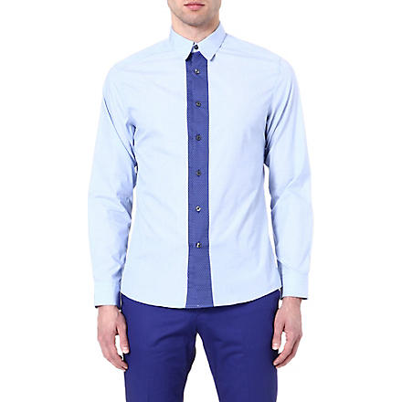 PS BY PAUL SMITH Satin dot placket shirt (Sky