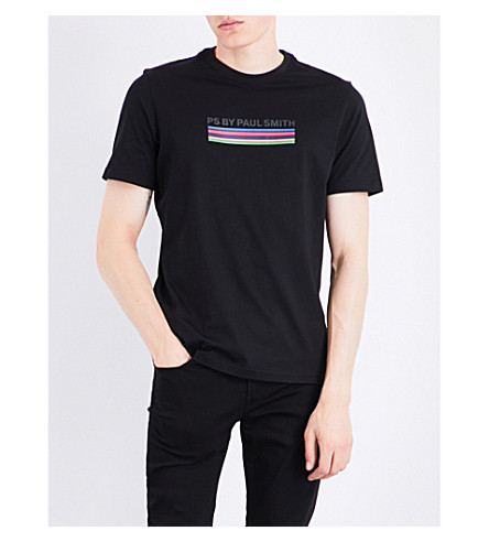 PS BY PAUL SMITH Striped logo-print cotton-jersey T-shirt (Black