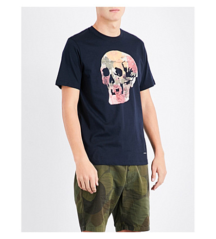 PS BY PAUL SMITH Floral-print skull cotton-jersey T-shirt (Navy