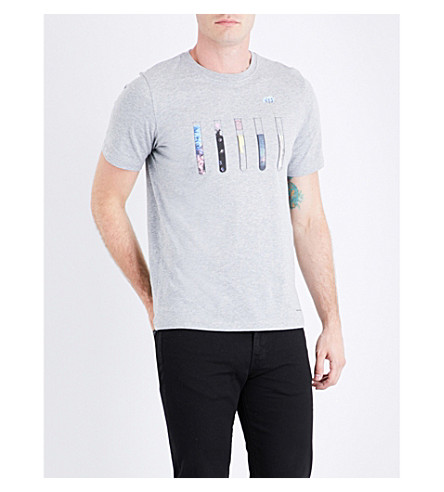 PS BY PAUL SMITH Test tube-print cotton-jersey T-shirt (Grey