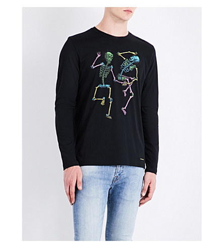 PS BY PAUL SMITH Skeleton bodies print cotton-jersey top (Black