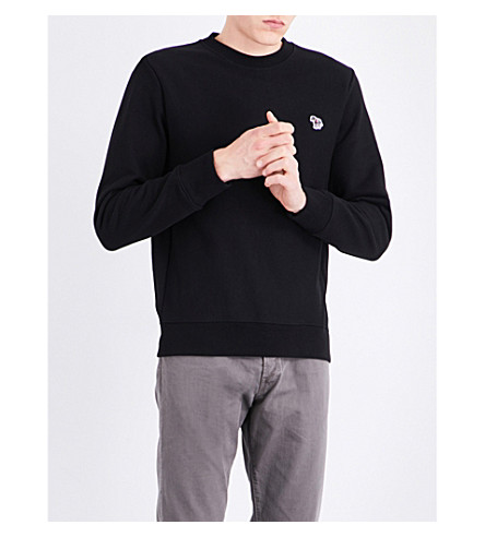 PS BY PAUL SMITH Zebra-embroidered cotton sweatshirt (Black