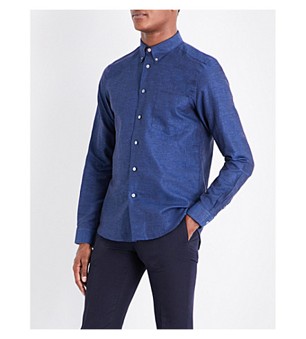 PS BY PAUL SMITH Tailored-fit cotton and linen-blend shirt (Navy