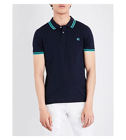 PS BY PAUL SMITH Logo-embroidered cotton-piqué polo shirt (Navy
