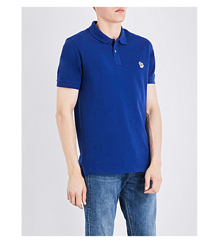 PS BY PAUL SMITH Zebra-embroidered cotton-pique polo shirt (Blue
