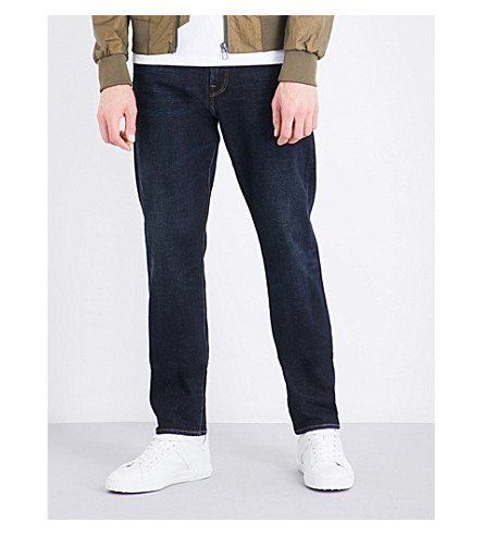 PS BY PAUL SMITH Tapered mid-rise stretch-cotton jeans (Navy+blue