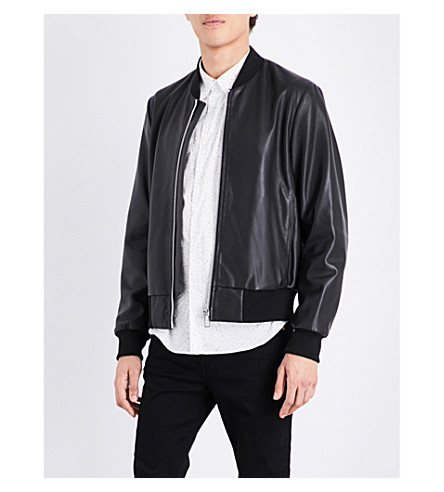 PS BY PAUL SMITH stand-collar leather bomber jacket (Black