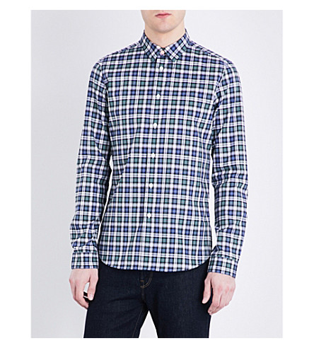 PS BY PAUL SMITH Checked slim-fit cotton shirt (Blue+green