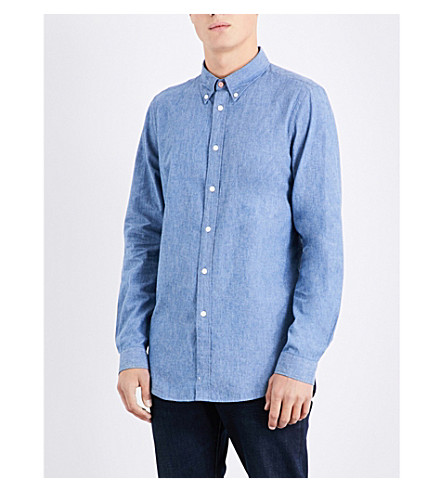 PS BY PAUL SMITH Tailored-fit cotton-chambray shirt (Navy