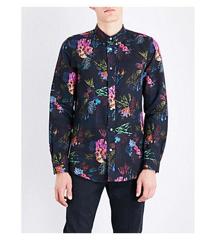 PS BY PAUL SMITH Mercury tailored-fit seaweed-print cotton shirt (Black+multi